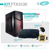 GABINETE KIT GAMER FTX3130 600W+MOUSE+TECLADO/2 FAN LED ROJO/LATERAL TRANSPARENTE/ ESPAÑOL