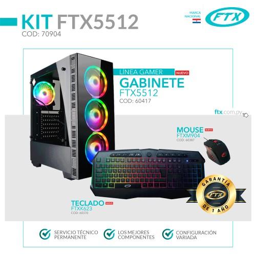 GABINETE KIT GAMER FTX5512 600W+ MOUSE+ TECLADO/4FAN RGB/VIDRIO TEMPLADO/ESPAÑOL