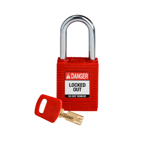CANDADO BRADY SAFETY PADLOCK RED 1 KEY PLASTIC (99552)